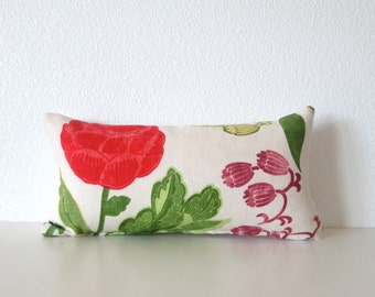 Bright modern floral 8x16 pillow cover - off white - red - green - mini lumbar pillow cover