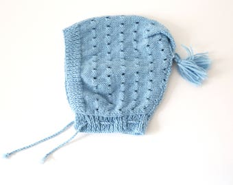 Baby Blue Pom Pom Hat baby bonnet