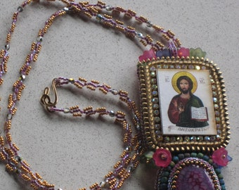 "NEW - Beautiful Religious Jesus Purple Dragon Veins Agate Bead Embroidery/Weaving Pendant Necklace 25.5"" Long"