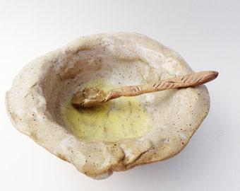Sunny Side Up Bowl, Egg Bowl, White and Yellow Rustic Stoneware Pottery, Primitive Wabi Sabi. Asymmetrical