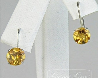 Memorial Day Sale Citrine Sterling Silver Leverbacks 6mm 1.60ctw