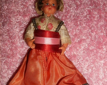 """Vintage Doll, 5"""" Tall, Strung limbs, Made in France, Normadie"""