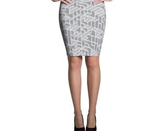 Gray Geometric - Pencil Skirt