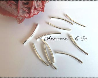 Set of 10 curved necklace on silver plated brass tubes
