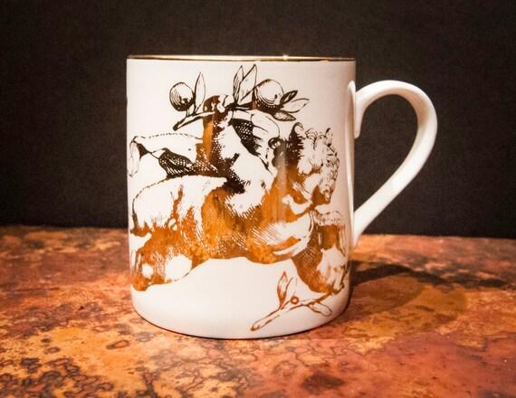Beautiful Vintage Bone China Cherub Coffee Mugs from England