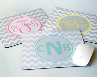 Set of Three Chevron Initial Monograms Mouse Pad Mousepads, Administrative Professionals Day Gifts, Administrative Assistant Day Gifts