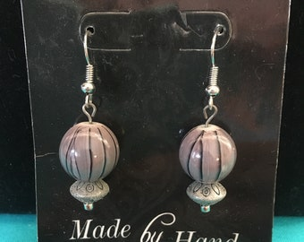 Grey with black stripes earrings