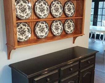 Oak China Plate Display Rack