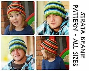 CROCHET HAT PATTERNS Strata Beanie - Adult and Kid Sizes