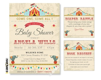Circus Baby Shower Invitation with Circus Animals, Carnival Tent Shower. Carnival Theme, DiY Printable or Printed with FREE SHIPPING BS152