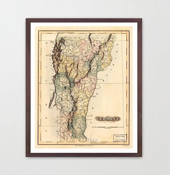 Vermont Map - Map Art - Map Decor - State Map - Vermont Art - Vermont Decor - Vermont Wall Art - Old Map - Map Wall Decor - Vermont