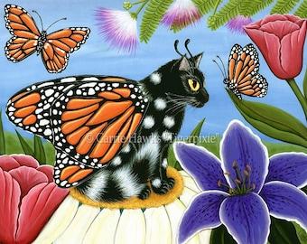 Cat Art Fairy Monarch Butterfly Cat Painting Fae Tulips Winged Cat Fantasy Cat Art Print 8x10 Cat Lovers Art
