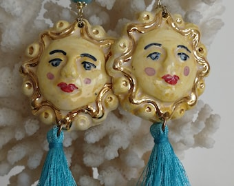 Silver and ceramic earrings from Caltagirone, Sicilian earrings