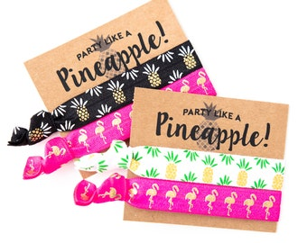 Hair Tie Bachelorette Favor | Pineapple + Flamingo Hair Tie Favors, Tropical Luau Beach Bachelorette Hair Tie Favors, Flamingo Bachelorette