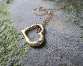 14k Y Heart with Diamond Pendant