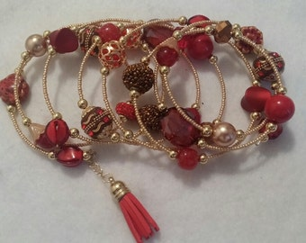 Long Red and Gold Wrap Bracelet