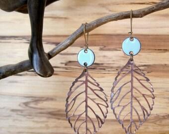Robin's Egg Blue Drop Earrings, Copper Leaf Dangle Earrings, Enamel Earrings, Light Blue Chandelier Earrings Nickel free kidney
