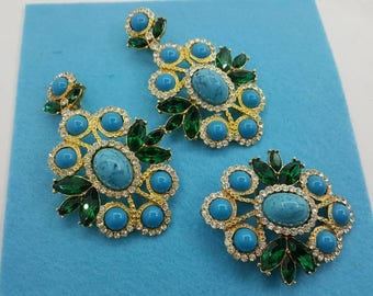 Sarah Coventry Maharani Brooch and Clip earrings 1969 mint condition