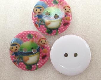 Set of 5 resin cartoon buttons