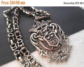 ON SALE Vintage Crown Crest Knight Shield Coat Of Arms Necklace, Fluer de lis, 1960's Collectible Jewelry,