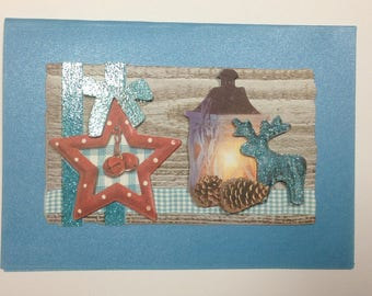 Christmas card blue with rene and Star