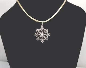 Snowflake - silver filigree pendant