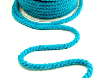 6mm cotton rope twisted, twisted cord rope, 6mm cotton rope, 6mm twisted cotton cord, twisted cord for crafts, turquoise cotton rope, 2m