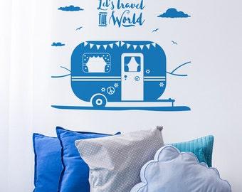 Let's travel the world caravan wall sticker - Bedroom wall decal - Wanderlust wall sticker