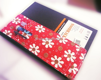 sale Red Daisy pen holder notebook, Artist tools, filofax, sketch book bandolier, stationery pencil case id1360938 gift for artist writer