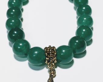 10mm Green Aventurine w/ Gold Leaf charm