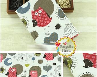 1 x coupon 50x145cm OWL print pattern pure linen fabric