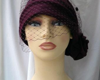 Cloché hat with detachable veil, 20s hat, 20s style hat, 20s fascinator, wedding hat, felt hat, wool hat, winter hat, Vintage style hat