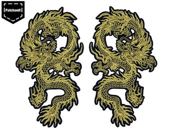 Gold Dragon Patch Dragon Iron on Patch Dragon Embroidered Patch Dragon Applique Dragon Back Patch Large Back Patch for Jackets Large Patch