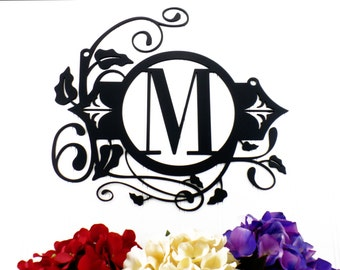 Hanging Monogram Metal Sign - Black, 13.5x12.5, Monogram Wall Art, Monogram, Monogram Wall Hanging, Metal Letter
