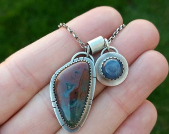 ocean jasper kyanite sterling silver charm necklace - charm necklace - statement necklace - gemstone necklace