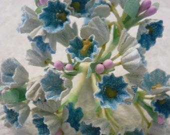 Vintage Flocked Blue Posies