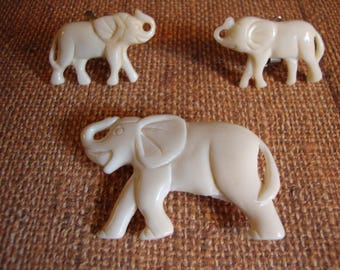 Carved Bone Elephant Pin and Clip On Earrings