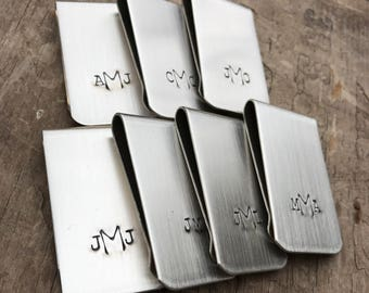 12 Groomsman Money Clips Custom Initials Men's Moneyclips SET of 12 Wedding Groomsmen Gifts for Groom
