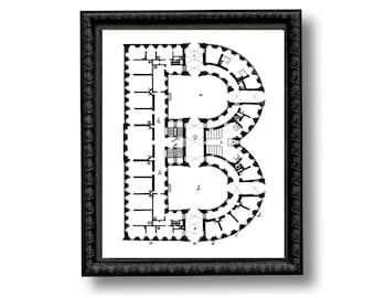 Letter Monogram Initial Architecture Blueprint Art Print Black and White Alphabet Personalized