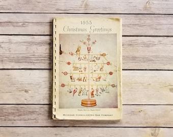 Michigan Cookbook Grand Rapids Recipes Sugar Cake Recipe Michigan Consolidated Gas Company 1955 Christmas Greetings Rare 50s Book Kitchen