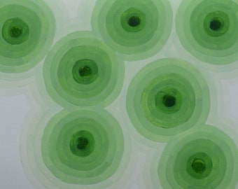 "Original Painting - 11"" x 15"" - Abstract - Greens - Abstract 2018-120"