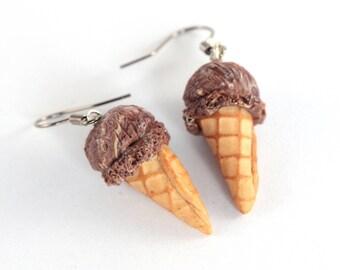 Chocolate ice cream cone earrings