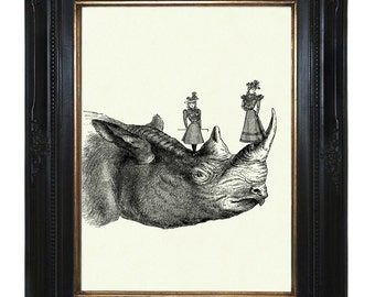 Girls Art Print playing on a Rhino Victorian Steampunk Art Print Rhinoceros African Zoo Animal Natural History