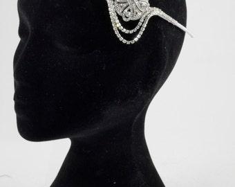 Bridal headpiece 1920s Gatsby style - Crystal headpiece - crystal hair jewellery - bridal forehead headpiece.