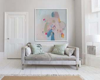 """print of abstract painting with blue and pink. Large Giclee print on canvas or paper """"A Pocketful of Rings"""""""