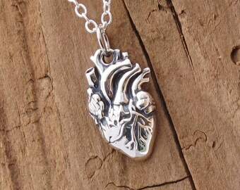 Sterling Silver Anatomical Gothic Love Heart Charm Pendant Necklace Doctor
