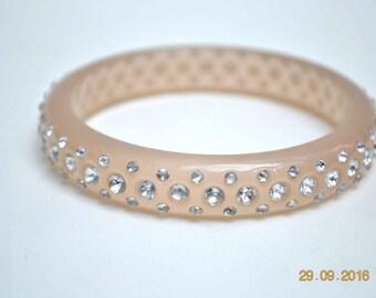 Rhinestone Bangle, Lucite Bangle, Vintage Bangle, Beige Bangle, 1960's Bracelet, Vintage Bracelet, Bangle Bracelet