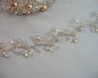 Crystal & Pearl Bridal Hair Vine - Silver or Gold Wire