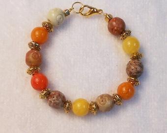 Girl's Bracelet - Child's Bracelet - Beaded Bracelet For Girls - Earthtones - Children's Jewelry - Flower Girl Bracelet