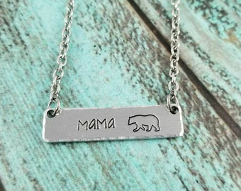 Mama bear necklace, mama bear bar necklace, handstamped mama bear necklace, mama bear gift, mama bear jewelry, bar necklace, gift for mom